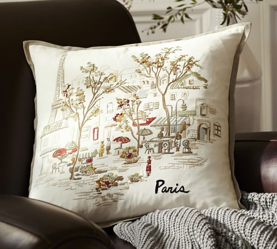 Paris Embroidered Pillow Cover