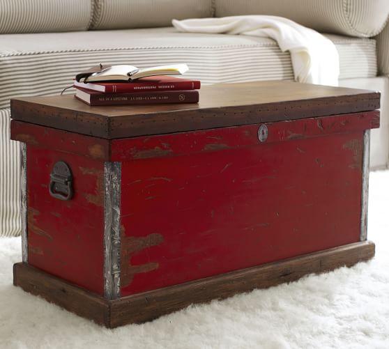 josefa distressed trunk pottery barn. Black Bedroom Furniture Sets. Home Design Ideas