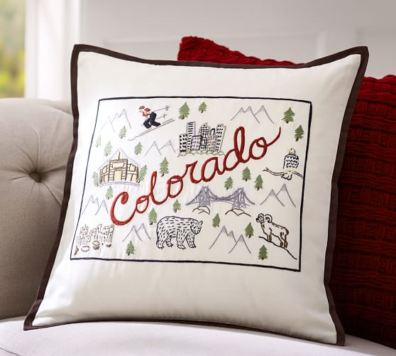 Colorado Embroidered Pillow Cover Pottery Barn