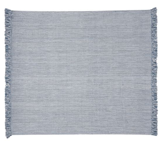 Chevron Recycled Yarn Indoor/Outdoor Rug - Blue