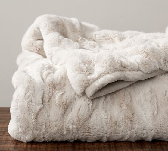 Ruched Faux Fur Throw - Ivory : Pottery Barn