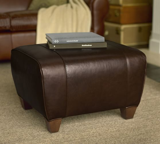 Manhattan Leather Ottoman Pottery Barn
