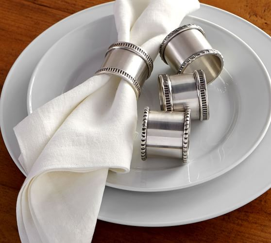 Antique Silver Napkin Rings, Mixed Set of 4
