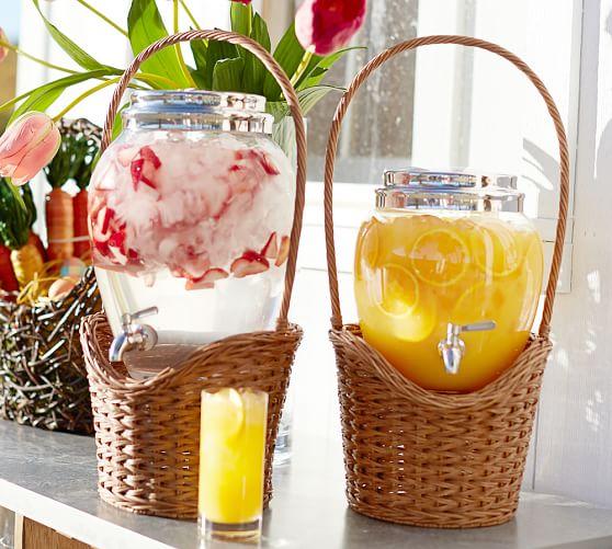 Woven Basket Drink Dispenser Stand