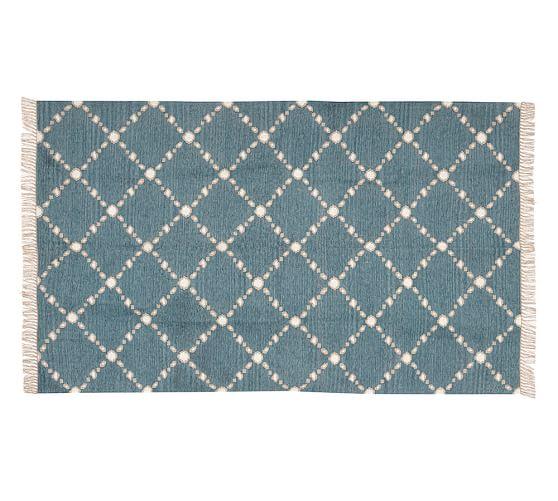 Dot N Dash Recycled Yarn Indoor Outdoor Rug Blue
