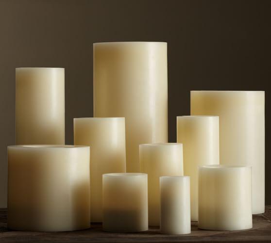 Flameless Wax Pillar Candle Ivory Pottery Barn