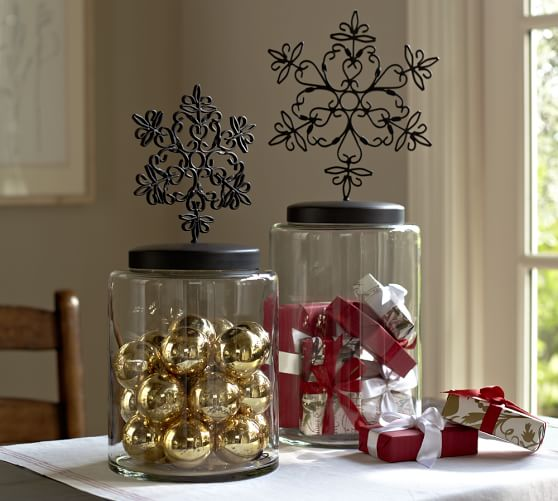 snowflake topped canisters pottery barn
