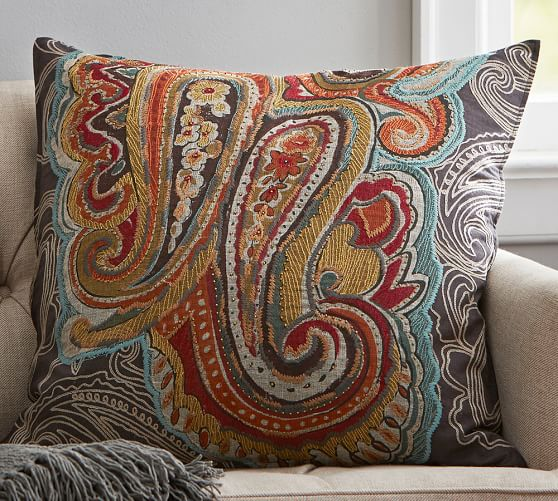 houston paisley pillow cover pottery barn. Black Bedroom Furniture Sets. Home Design Ideas