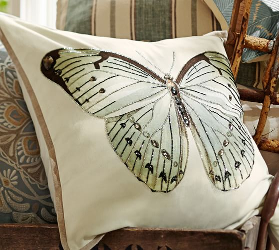 luxe butterfly embroidered pillow cover pottery barn. Black Bedroom Furniture Sets. Home Design Ideas