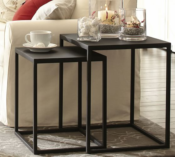 Set Of 2 Square Design Nesting Coffee Tables Made Of Black: Burke Nesting Side Tables, Set Of 2