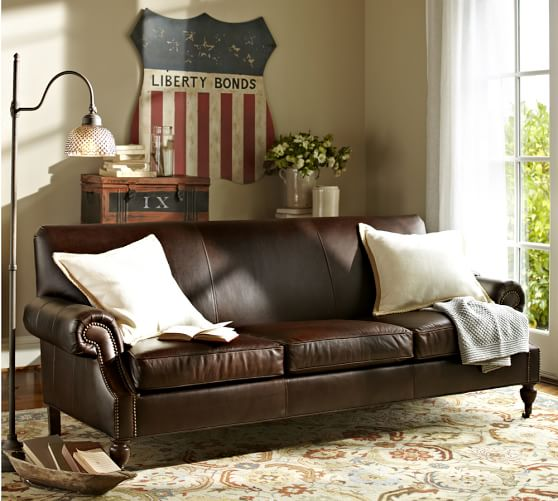 leather sofa pottery barn