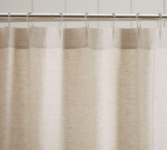 Linen Ruffle Shower Curtain Pottery Barn