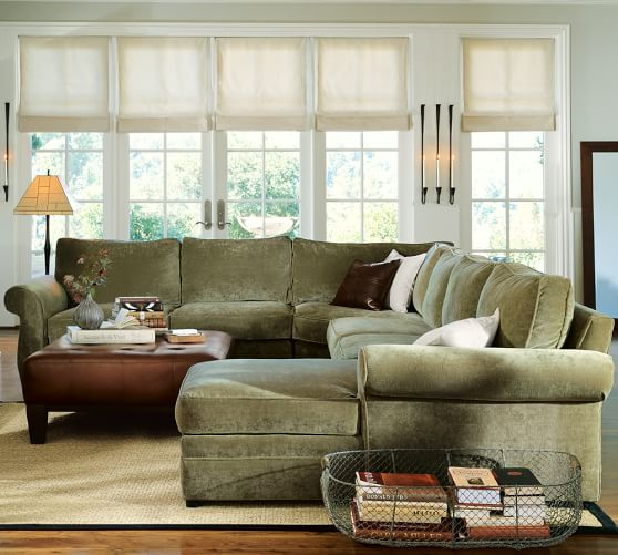 Pottery Barn Furniture Reviews Pearce Sectional: Pearce Upholstered 4-Piece Chaise Sectional With Wedge