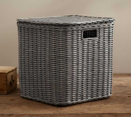 Wicker Basket Storage Cube : Wicker weave storage cube pottery barn