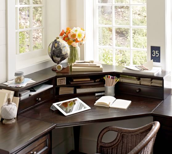 Whitney corner desk hutch pottery barn for Best home office organization products