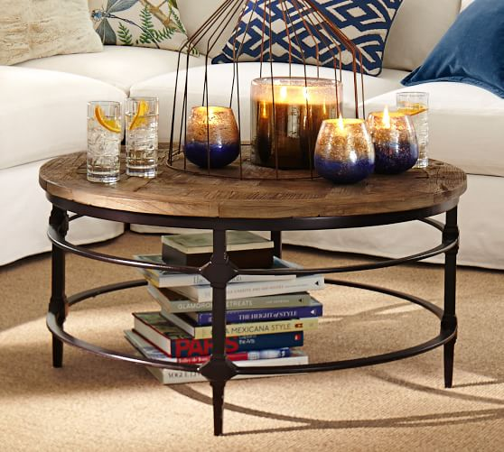 Pottery Barn Wood Table: Parquet Reclaimed Wood Round Coffee Table