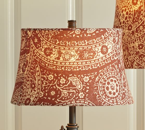 red paisley drum lamp shade pottery barn. Black Bedroom Furniture Sets. Home Design Ideas