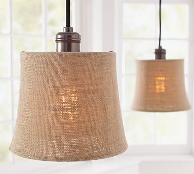 burlap shade pendant track lighting pottery barn. Black Bedroom Furniture Sets. Home Design Ideas