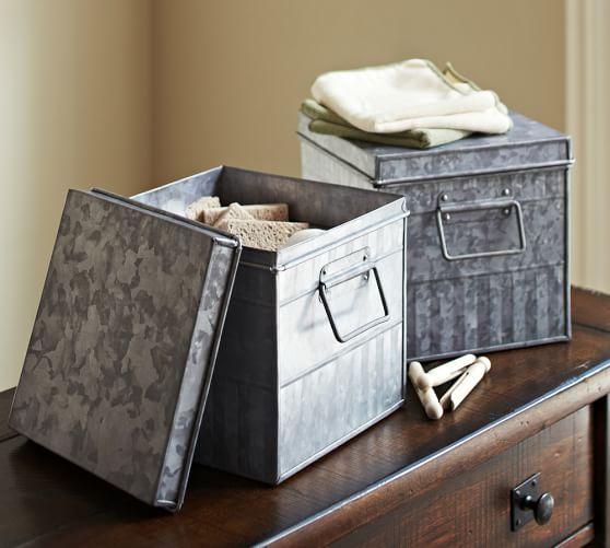 galvanized metal bin pottery barn. Black Bedroom Furniture Sets. Home Design Ideas