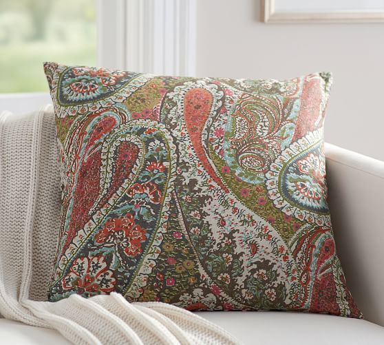 Pottery Barn Decorative Pillow Covers : Zia Paisley Reversible Pillow Cover Pottery Barn
