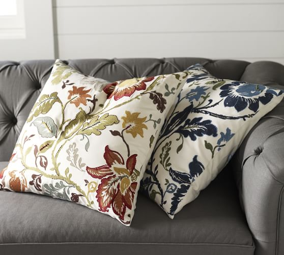 Pottery Barn Decorative Pillow Covers : Annabelle Floral Embroidered Pillow Cover Pottery Barn