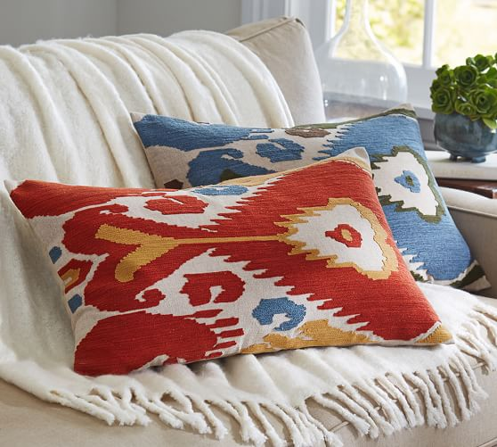Embroidered Throw Pillows Pottery Barn : Ikat Embroidered Lumbar Pillow Cover Pottery Barn