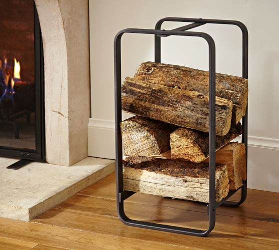 industrial fireplace small log holder pottery barn