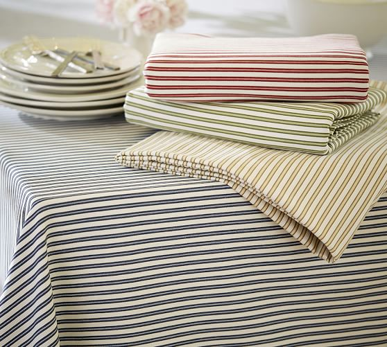 Thatcher Ticking Stripe Tablecloth Pottery Barn