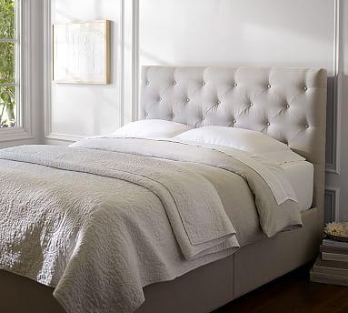 lorraine tufted low storage platform bed pottery barn. Black Bedroom Furniture Sets. Home Design Ideas