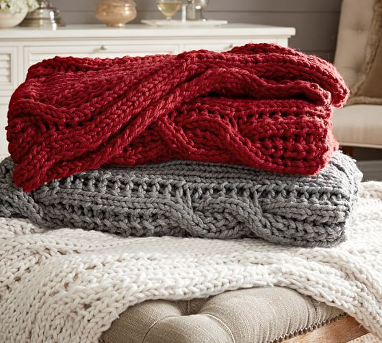 Knitting Pattern For Pottery Barn Throw : Chunky Cable Handknit Throw Pottery Barn