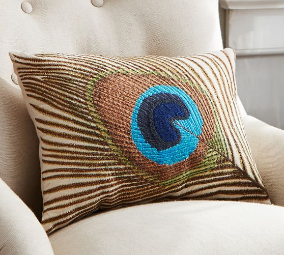 Peacock Feather Embroidered Lumbar Pillow Pottery Barn