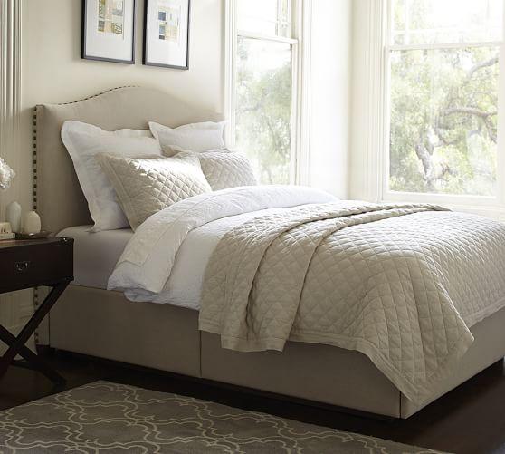 raleigh upholstered nailhead camelback tall headboard. Black Bedroom Furniture Sets. Home Design Ideas
