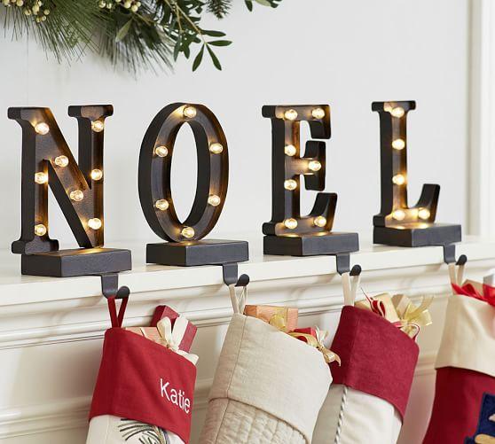 Lit Bronze Word Stocking Holder Noel Pottery Barn