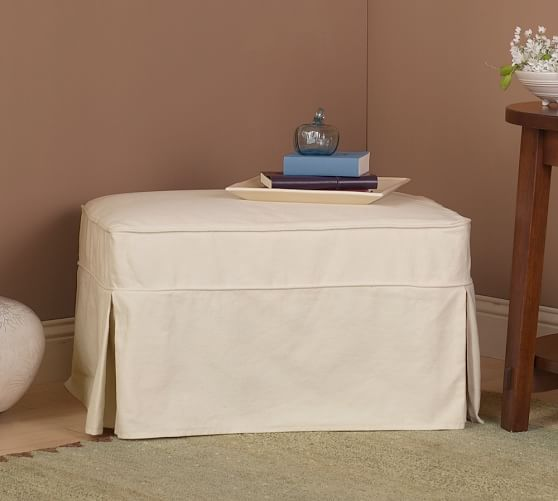 Pb Basic Sofa Slipcover Ebay: PB Basic Slipcovered Ottoman