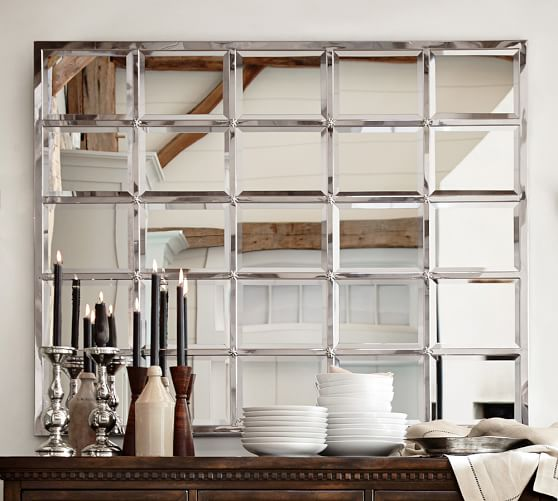 Eagan multipanel large mirror silver pottery barn for Big fancy wall mirrors