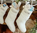 Faux-Sheepskin Stocking, Ivory with Bells