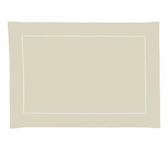 Hand-Woven Linen Hemstitch Rectangular Placemat, 14 x 20