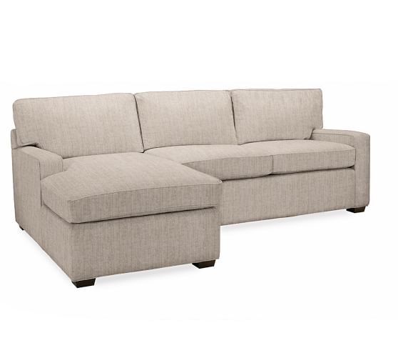 Pb square upholstered sofa with chaise sectional pottery for Albany sahara sectional sofa chaise