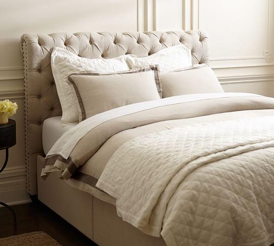 Chesterfield upholstered headboard storage platform bed for Platform bed with upholstered headboard