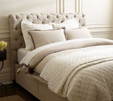 Chesterfield upholstered headboard storage platform bed pottery barn Bedroom furniture chesterfield