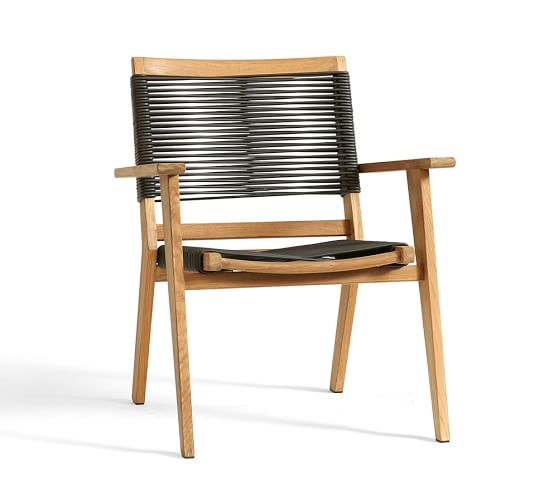 Palmer Rope Stacking Dining Chair, Teak, Natural