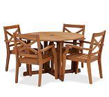 Hampstead Teak Round Drop-Leaf Dining Table & Chair Set - Honey