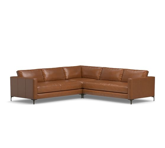 Jake Leather 3 Piece L Shaped Sectional Pottery Barn