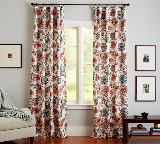 Reagan Floral Pole Pocket Blackout Drape, 50 x 63