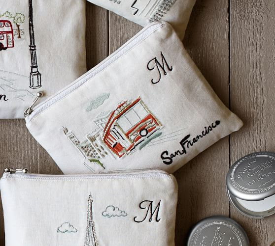 New York Embroidered Pouch