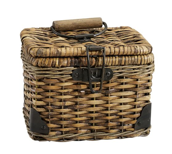 Daytrip Lidded Split Rattan Basket, Small