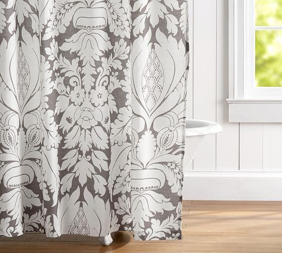 damask linen shower curtain pottery barn. Black Bedroom Furniture Sets. Home Design Ideas