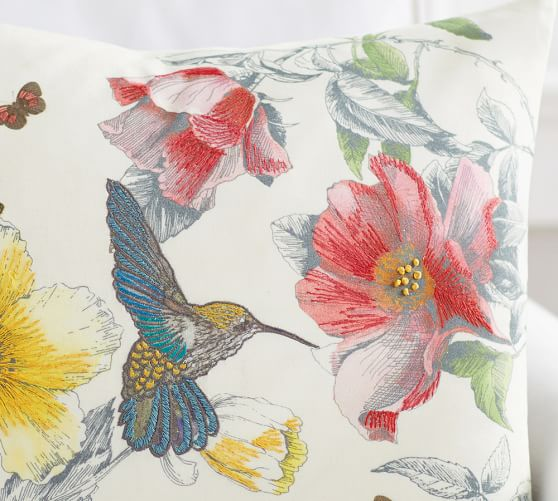 Hummingbird Print Embroidered Pillow Cover Pottery Barn