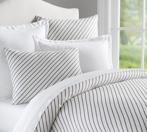 Beckett Belgian Flax Linen Stripe Duvet Cover Amp Sham