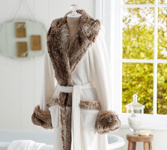 Cozy Fur Robe Ivory Caramel Ombre Pottery Barn